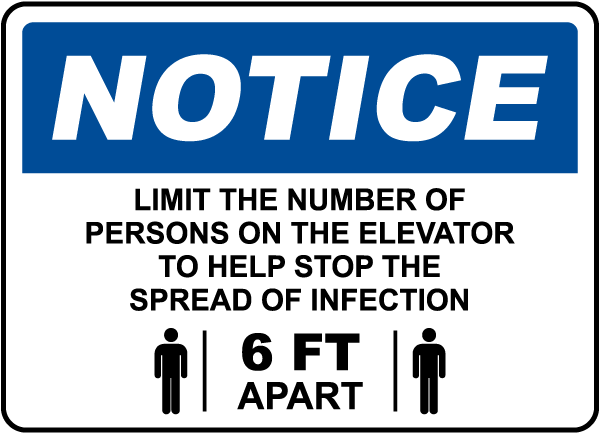 Notice Elevator Physical Distancing Sign