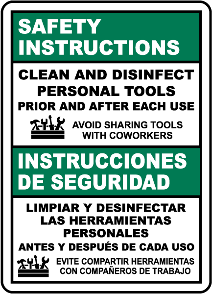 Bilingual Safety Instructions Clean Personal Tools Sign