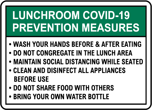 Lunchroom COVID-19 Prevention Measures Sign
