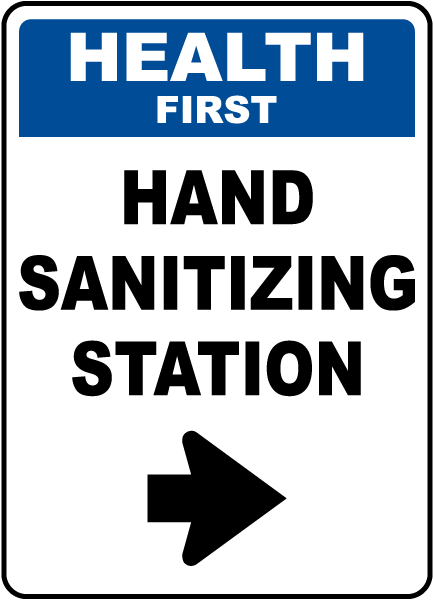 Health First Hand Sanitizing Station Right Arrow Sign
