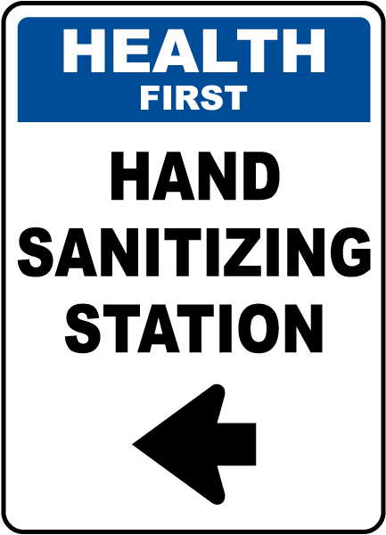 Health First Hand Sanitizing Station Left Arrow Sign