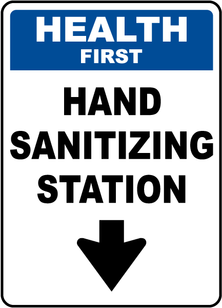 Health First Hand Sanitizing Station Down Arrow Sign