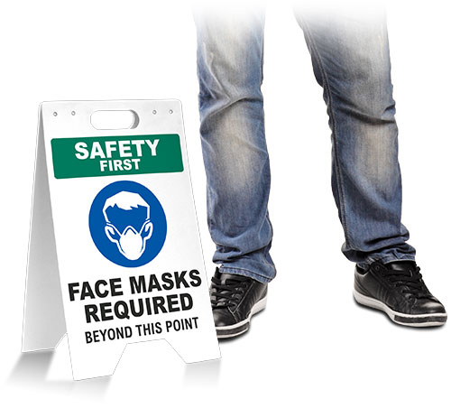 Safety First Face Masks Required Beyond This Point Floor Stand