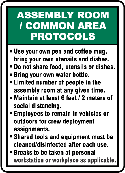 Assembly Room / Common Area Protocols Sign