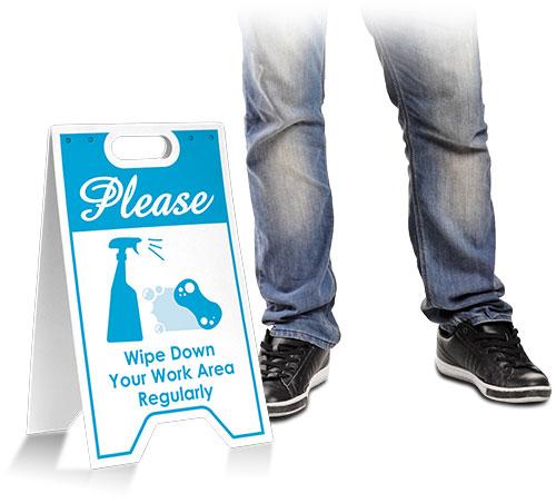 Please Wipe Down Work Area Floor Stand
