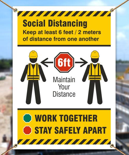 Social Distancing Construction Banner