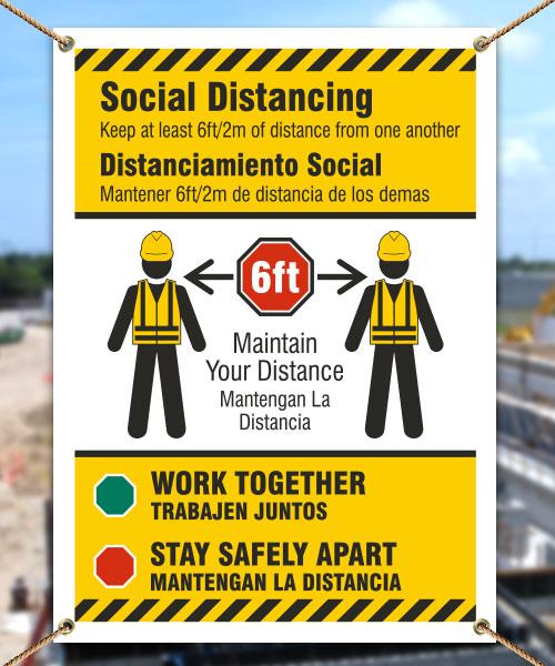 Bilingual Social Distancing Construction Banner