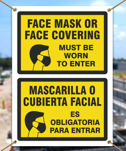 Bilingual Face Mask Covering Banner