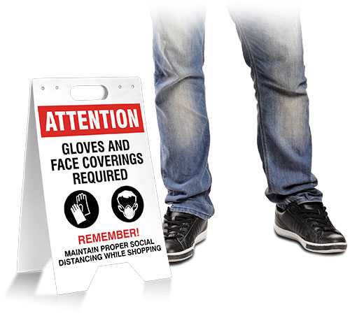 Attention Gloves and Face Covering Required Floor Stand