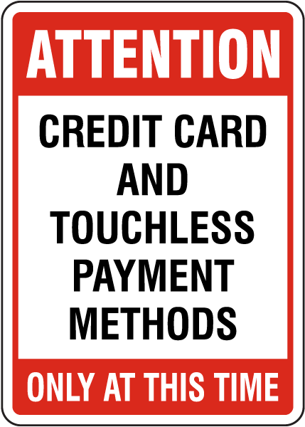 Credit Card Touchless Payment Sign
