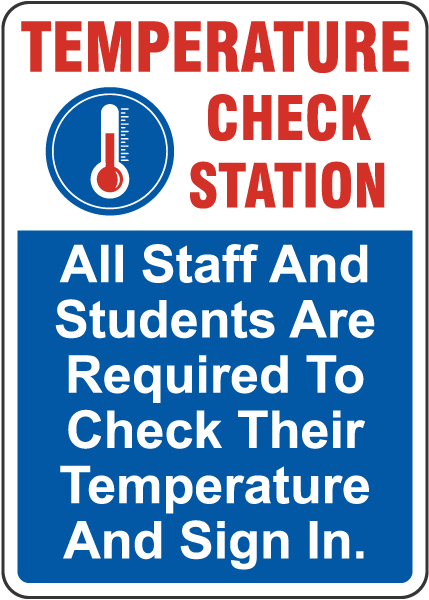 Temperature Check Station For Staff And Students Sign
