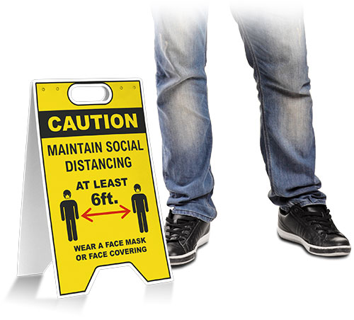 Caution Social Distancing Wear Face Mask Floor Stand