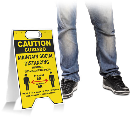 Bilingual Caution Social Distancing Wear Face Mask Floor Stand