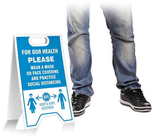 For Our Health Wear Mask Practice Social Distancing Floor Sign