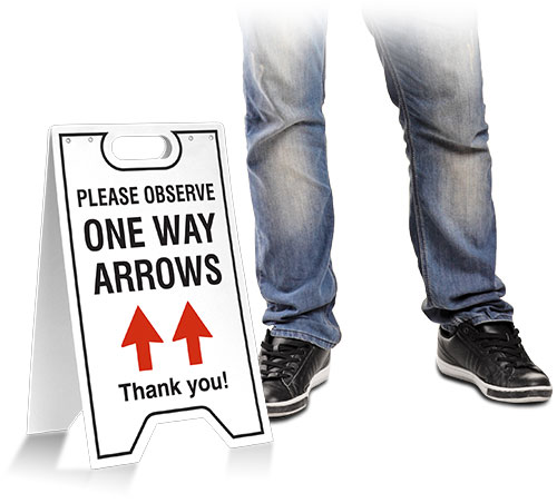 Please Observe One Way Arrows Floor Stand