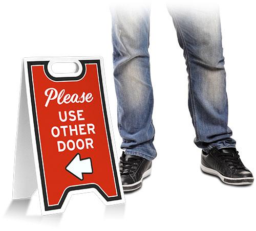 Please Use Other Door Left Arrow Floor Stand