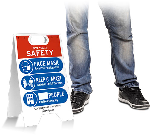 Face Mask/6 Feet Apart/Limited Occupancy Floor Stand