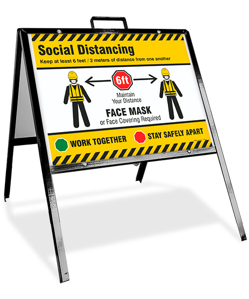 Social Distancing, Face Mask Required Sandwich Board Sign