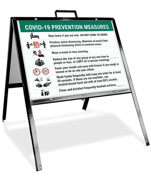 COVID-19 Prevention Measures Sandwich Board Sign