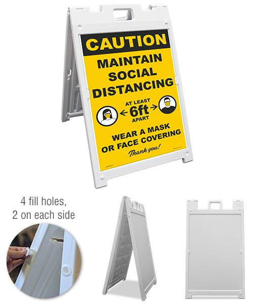Caution Maintain Social Distancing Sidewalk Sign