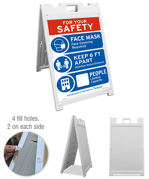 For Your Safety Face Mask & Social Distance Sandwich Board Sign