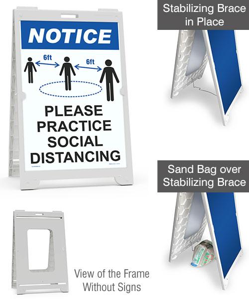 Notice Please Practice Social Distance Sidewalk Sign