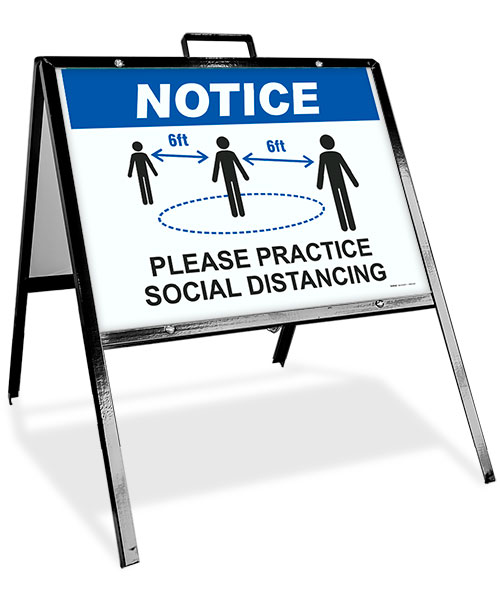 Notice Please Practice Social Distance Sidewalk Sign
