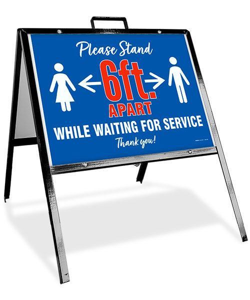 Please Stand 6 FT Apart While Waiting Sandwich Board Sign