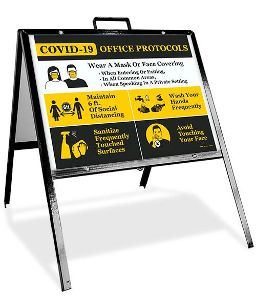 COVID-19 Office Protocols Sandwich Board Sign