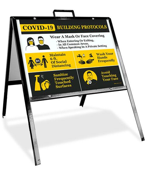 COVID-19 Building Protocols Sandwich Board Sign