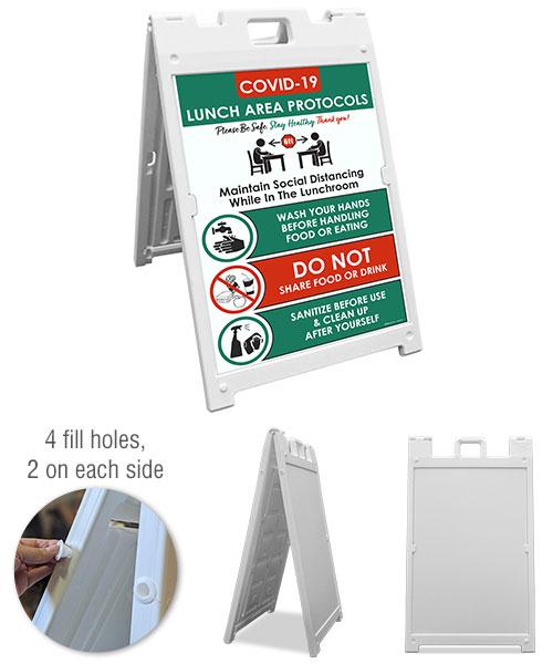 COVID-19 Lunch Area Protocols Sandwich Board Sign