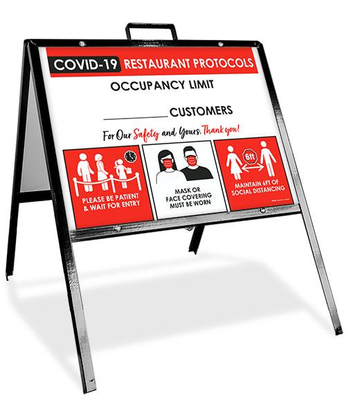 COVID-19 Restaurant Occupancy Limit Sandwich Board Sign