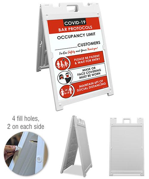 COVID-19 Bar Occupancy Limit Sandwich Board Sign
