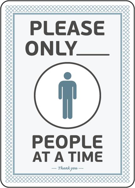 Please Only X of Number of Men Restroom Sign