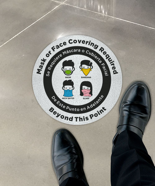 Bilingual Mask or Face Covering Required Floor Sign
