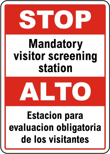 Bilingual Stop Mandatory Screening Sign
