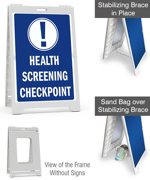 Health Screening Checkpoint Sandwich Board Sign
