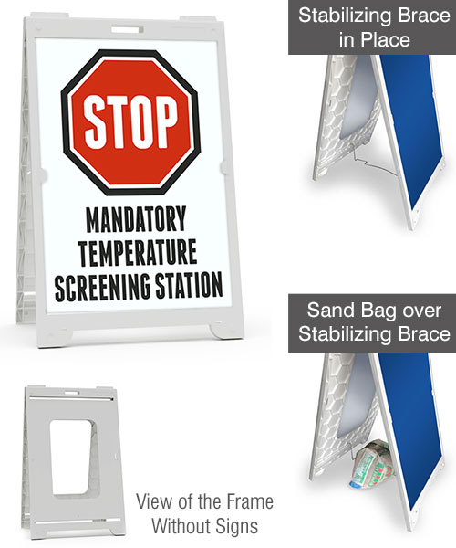 Stop Mandatory Temperature Screening Station Sandwich Board Sign