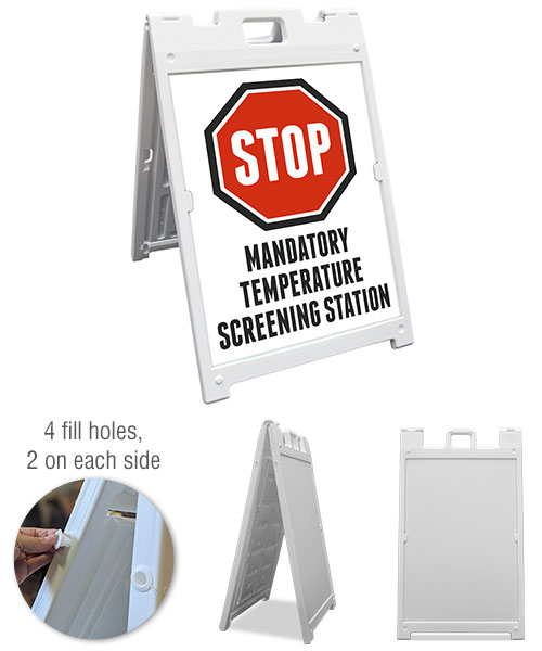 Stop Mandatory Temperature Screening Station Sandwich Board Sign