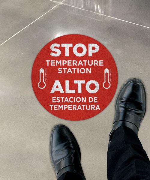 Bilingual Stop Temperature Station Floor Sign