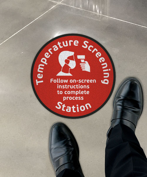 Temperature Screening Follow On-Screen Instructions Floor Sign