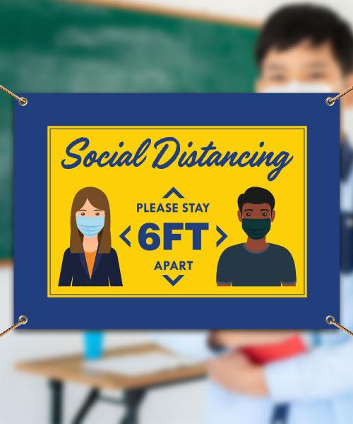 Social Distancing 6 Ft. Apart Banner