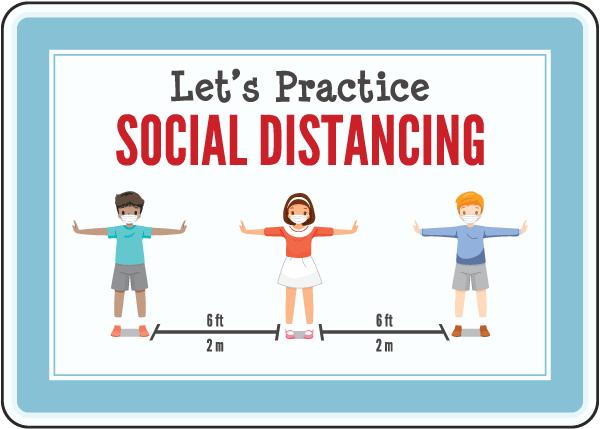 Let'S Practice Social Distancing Sign