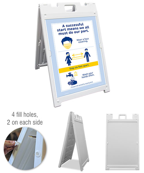 Face Covering, 6 Ft. Apart, Wash Hands Sandwich Board Sign