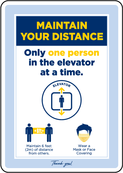 Maintain Your Distance One Person Elevator Sign