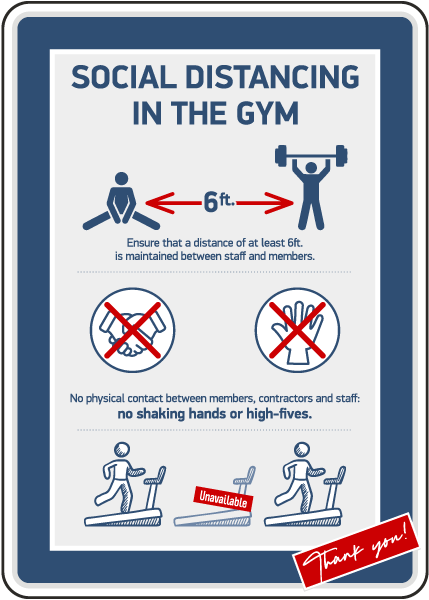 Social Distancing In The Gym Sign
