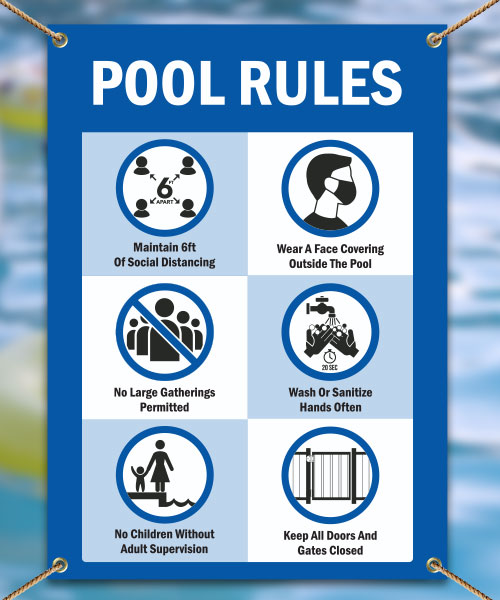 Social Distancing Pool Rules Banner