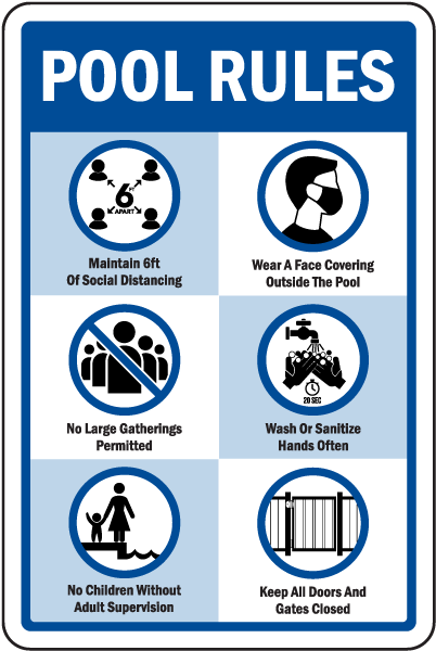 Social Distancing Pool Rules Sign
