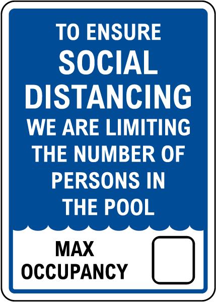 Social Distancing Pool Capacity Sign