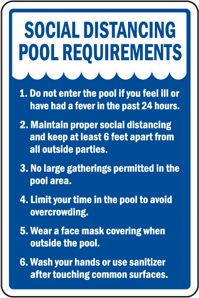 Social Distancing Pool Requirements Sign